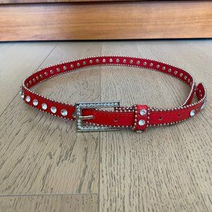 Jewel Embellished Red Faux Leather Skinny Belt S